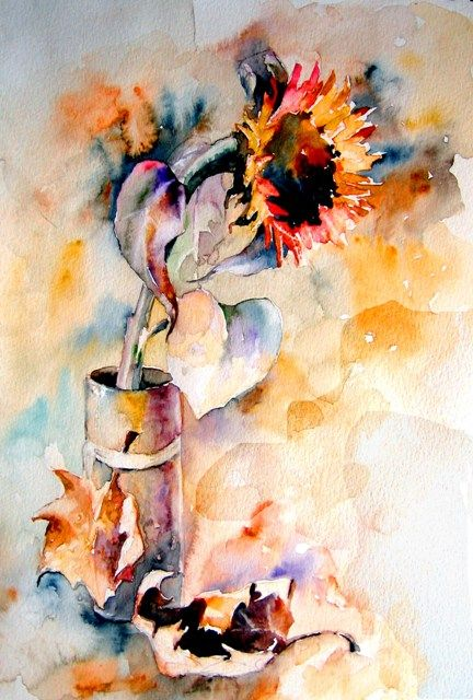 Red sunflower - bright watercolor, automn painting, flower, mood