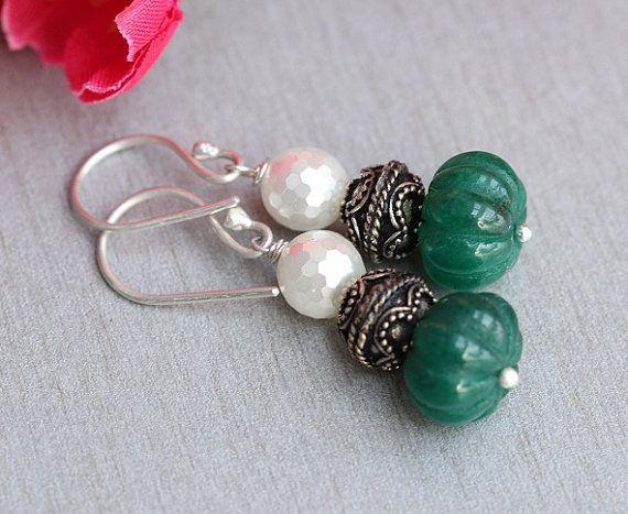 Emerald green earrings Bridal earrings  Beaded earings  by Azilaa
