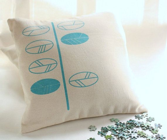 Turquoise leaves screen printed cushion cover, £30 from Netamente on etsy - simply pretty