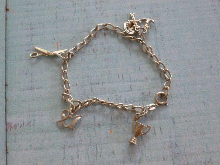 Vintage Sterling Silver Charm Bracelet, 21st Birthday, Trophy Charm, Heart Charm, Scissor Charm, Sterling Silver Chain by MuskRoseVintage on Etsy