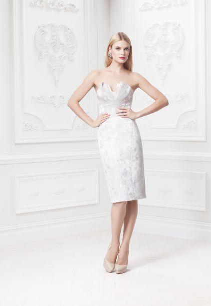 Truly zac posen short strapless floral jacquard dress for Zac posen short wedding dress