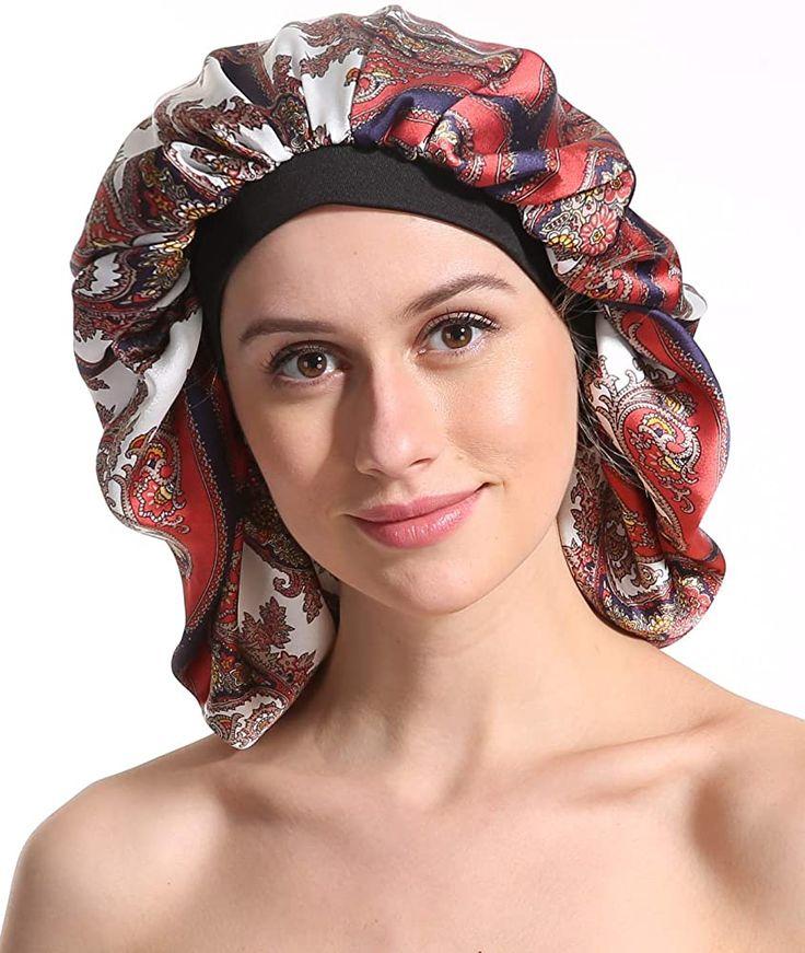 Satin Silk Sleep Cap Printing Soft Extra Large