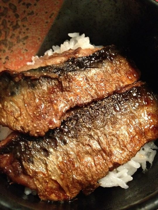 """""""Better Than Unagi"""" Kabayaki: 1 Filet sardines, dust w/ flour. 2 Fry both sides with a little oil. 3. Add 1:1 soysauce and sake (or mirin) and reduce until thickened. 4 Place on top of steamed short grain rice, sprinkle with Japanese pepper if you have any. Enjoy!"""