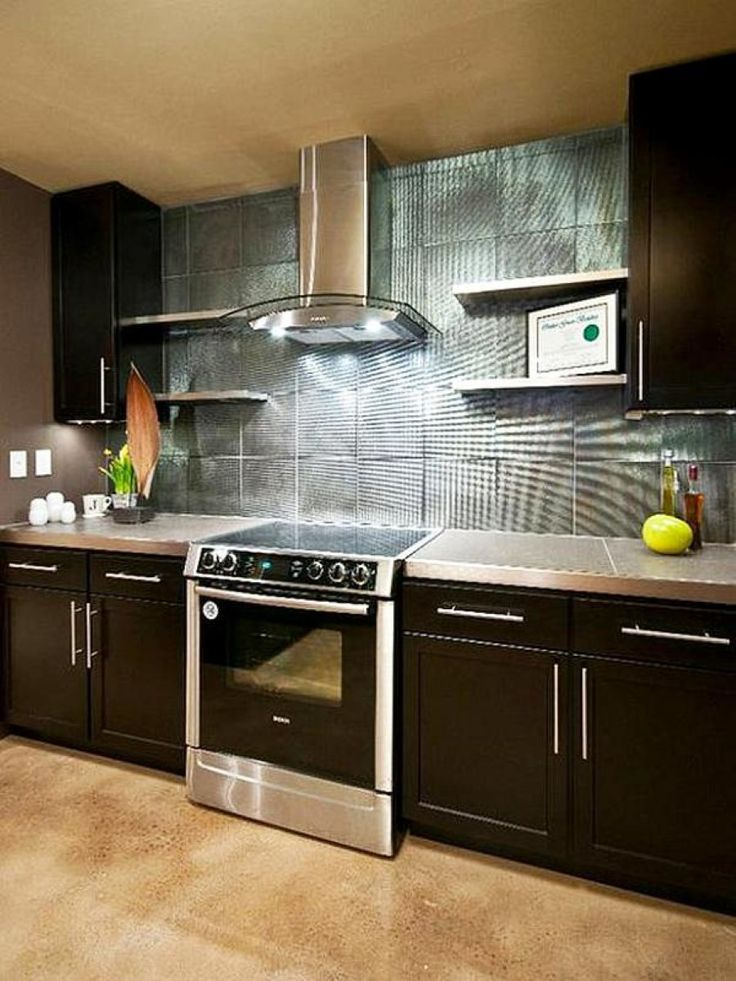 Kitchen  Cleanly Brown Ceramic Floor Tile Mixed With Black Kitchen Unit Also Silver Kitchen Backsplash Tile Design These Backsplash Styles will Change your Kitchens