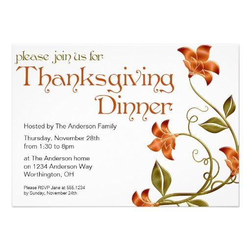 332 best thanksgiving invitations images on pinterest floral thanksgiving dinner party invitation 29 stopboris Image collections