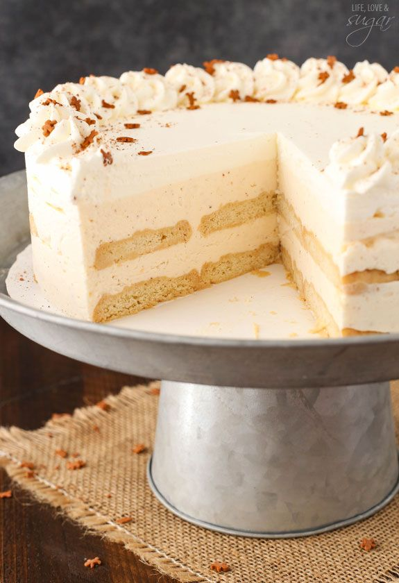 No Bake Eggnog Icebox Cake - layers of eggnog mousse, whipped cream ...