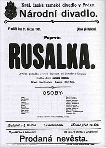 Poster for the premiere of Rusalka in Prague, 31 March 1901