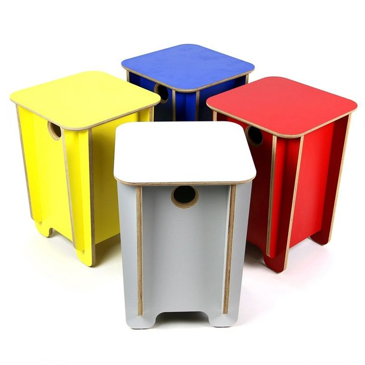 """Made from FSC certified furniture grade film faced birch, Power To Make's Click Stool is a seriously heavy duty piece of flat pack furniture. The four side components easily slot into each other before the lid """"clicks"""" on top holding it all together."""