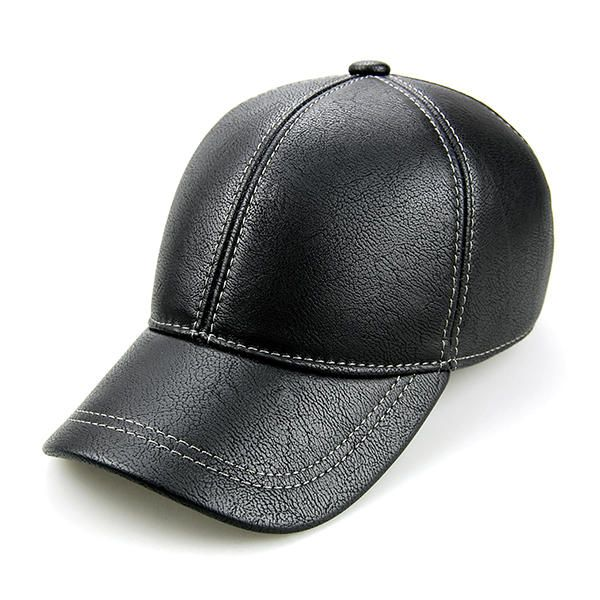 c786ee1bb6b Mens PU Leather Ear Flaps Baseball Cap Outdoor Warm Trucker Hats Adjustable  - Banggood Mobile