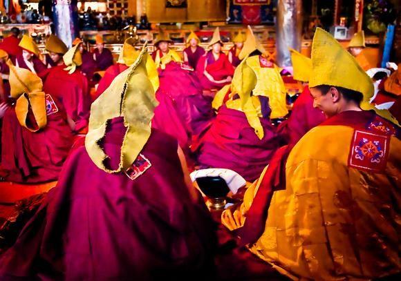 Monks at Thashilumpo Monastery. Tibet