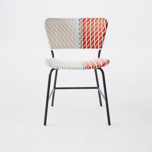 Colorblock Woven Bistro Chair: Stripes, Multi | West Elm - perhaps 10 mint chairs from cb2 with a few of these thrown in as accent?