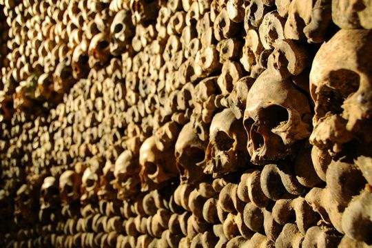 Les Catacombes de Paris: compare to this, Indiana Jones can go back to school. Here lie the bones of millions of Parisians, whose remains have been removed out of cemeteries after 1786. A travel of several kilometers in our own Death Valley, in underground galleries close to Denfert-Rochereau. You will find some big names of French history, supposed to be resting in the middle of the former people of Paris.