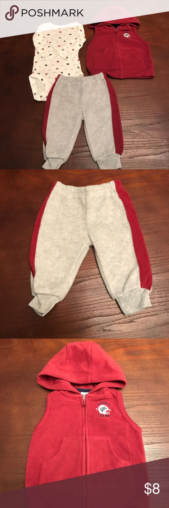 New 3 piece set for boys New three piece set for boys. Sports themed outfit. The shirt has 2 parallel faint burgundy lines in the front of the shirt. The lines came from the zipper. ( my son was born premature and there are items he did not use. If you have any questions, let me know) Matching Sets