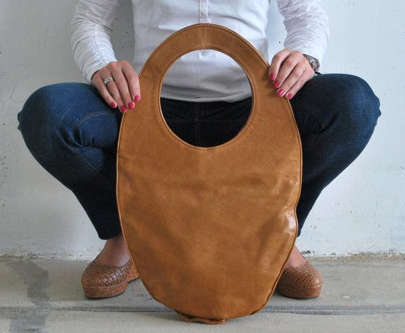 Camel tote bag large leather handbag camel brown by stellachili, €190.00