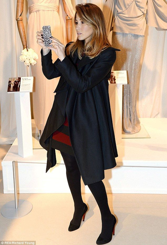 Rachel Stevens..black coat.. ZARA SS 2013 red and black striped dress..Christian Louboutin heels.. tights..