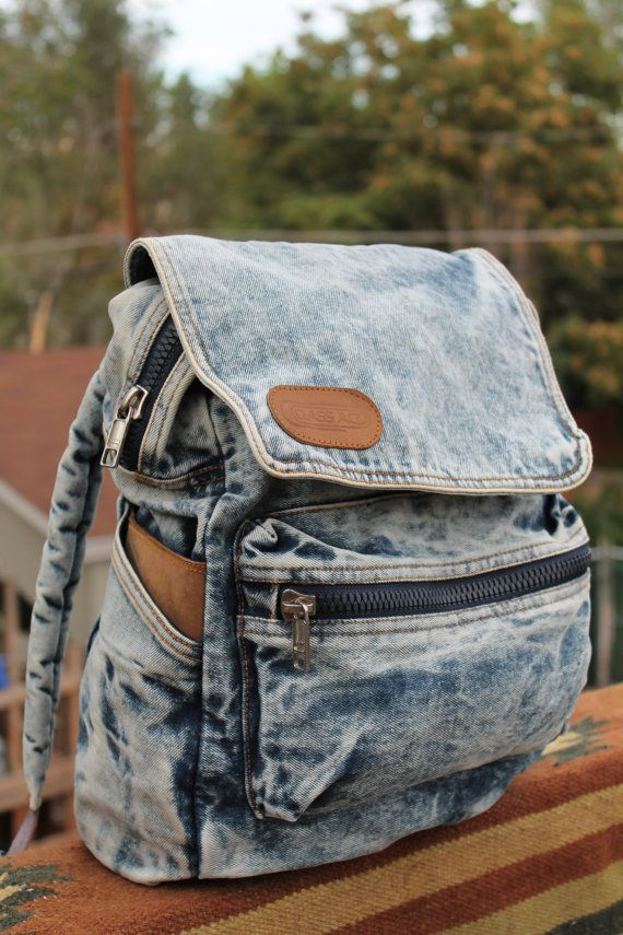 vtg. acid wash denim jean backpack UNISEX. want one!!!: