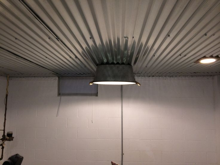 Clever Light Fixture And Corrugated Steel Ceiling In This