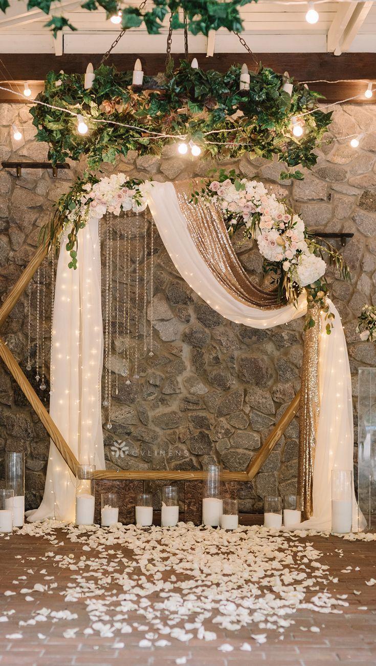 Elegant modern wedding ceremony arch backdrop #weddings #Weddingbackdrop #weddingarch #lights #candles - #weddingdecorationideas #weddingdecorationideasCeremony #weddingdecorationideasFlowers #weddingdecorationideasPurple