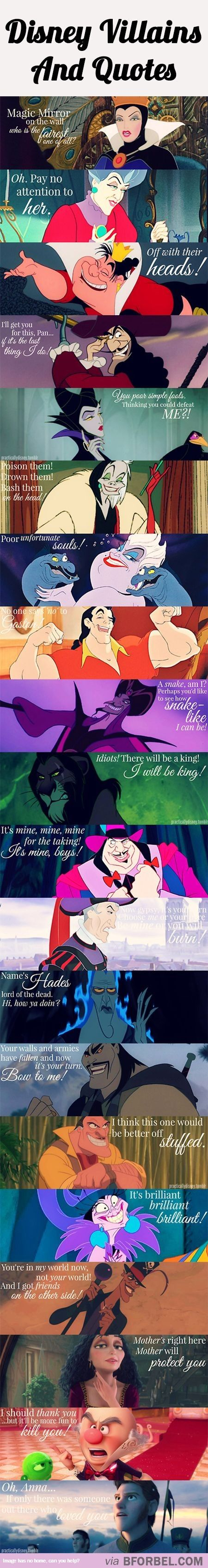 20 Disney Villains And Their Infamous Quotes….  Can I just say I heard every single one of their voices reading the quotes in my head