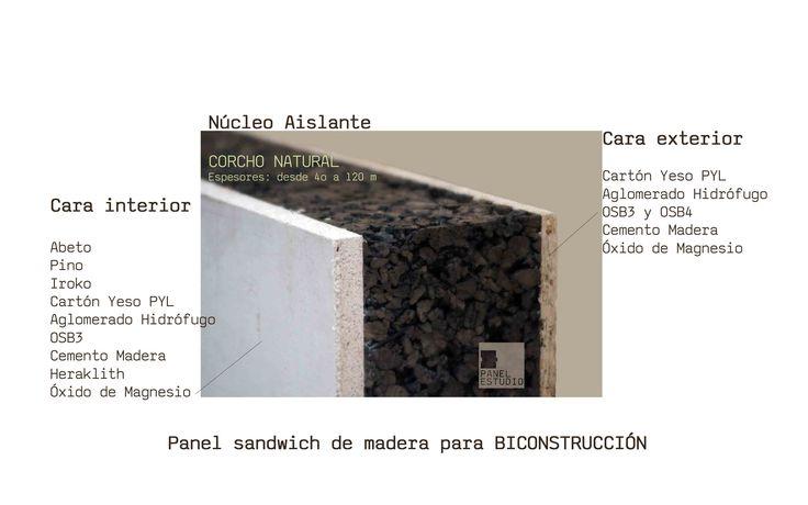 El panel de madera para bioconstrucción está formado por núcleo de aglomerado de corcho natural aislante térmico y termoacústico. Construcción sostenible.