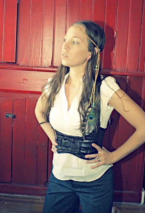 Handmade Feather Hippie Tie Leather Headband by Cloud9Jewels