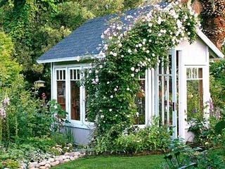 Garden Cottage Greenhouse A U0027Cecile Brunneru0027 Climbing Rose Arches Over The  Garden Shed Entry. The Shed Features A Recycled Door And Windows That Let  In ...