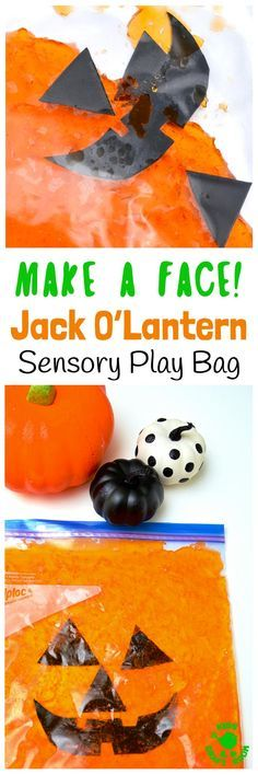 Make-A-Face Jack O'Lantern Sensory Play Bag - a fun mess free Halloween and Autumn sensory play idea kids will love. A great way to engage the senses and help kids learn and play. Squash and squish the sensory bag to move the Jack O'Lantern's face pieces