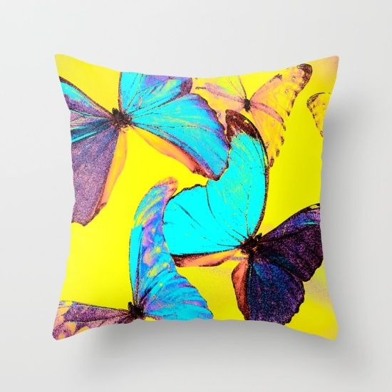 Shiny and colorful butterflies Throw Pillow
