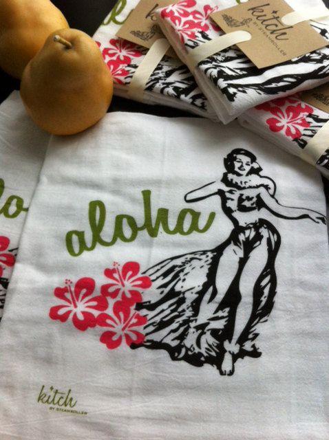 Retro Hula Girl Flour Sack Tea Towel Vintage Hawaii Rockabilly Kitsch Tiki. $9.00, via Etsy.