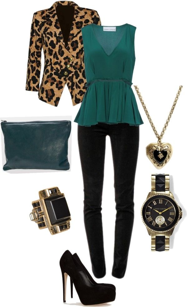 My Adaptation: Teal Blazer, Leopard Print Shirt, Black Skinnies, Black Stilettos, Gold Watch, Gold Necklace
