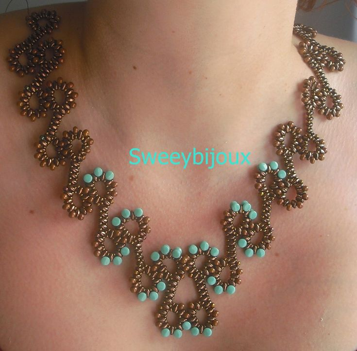 Necklace with superduo bronze and pellet turquoise