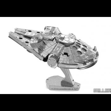 Metal Earth Millenium Falcon. Each DIY model starts as a four-inch square sheet of intricately laser-etched metal and takes about an hour to assemble. You won't need any glue, but we do recommend a pair of tweezers or needle nose pliers to help you bend the metal pieces into a desk-worthy accessory.