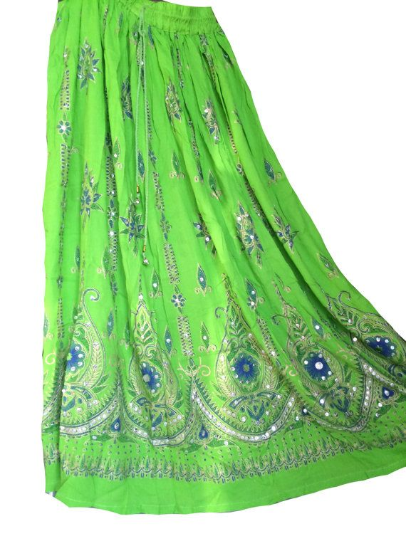 Parrot green Embroidered skirt Indian Skirt by NeelCreations
