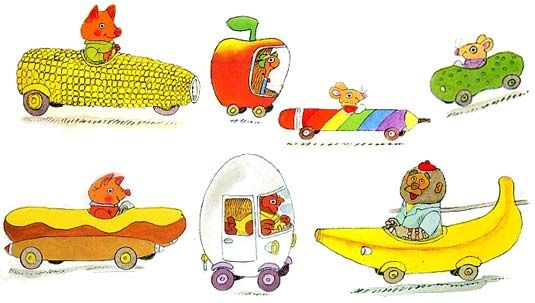 Richard Scarry's Cars & Trucks & Things That go has so many great characters like Goldbug, Dingo, Lowly Worm and Flossy!  How can you not love a book that includes a pickle car.