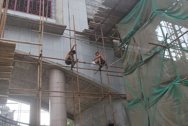 scaffold, scaffolding, platform, workers, construction