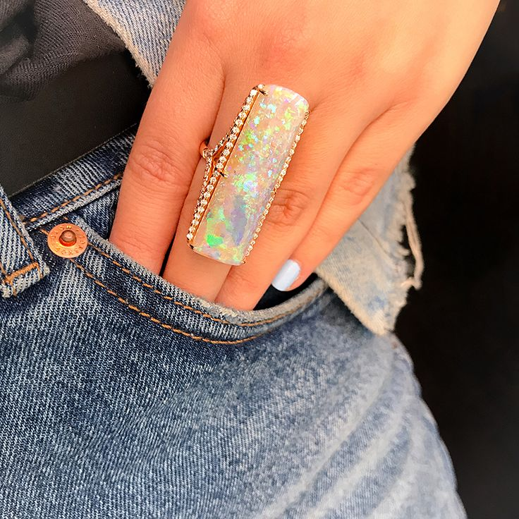 kimberlymcdonaldjewelryBlushing Over this #OneofaKind 41ct Opal Belemnite Ring with Diamonds set in 18K Rose Gold, Available @bergdorfs now!