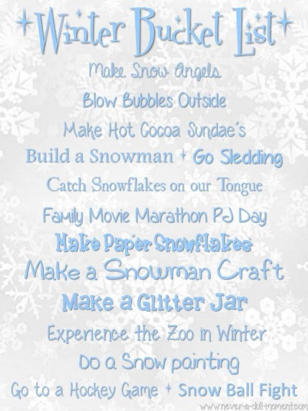 Our Winter Bucket List