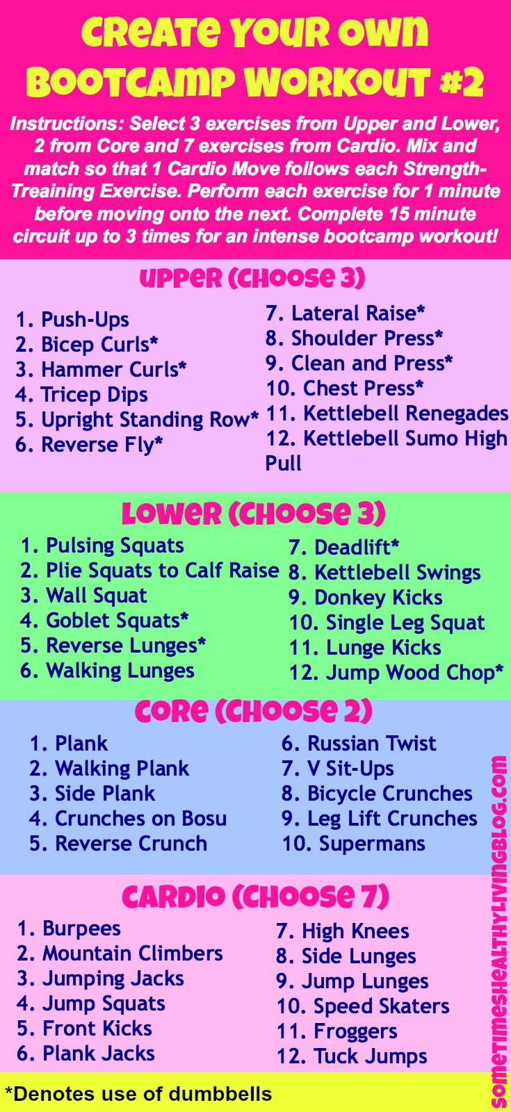 Mix it up! Here's a great list of exercises to create your own bootcamp. Variety is the spice of life!