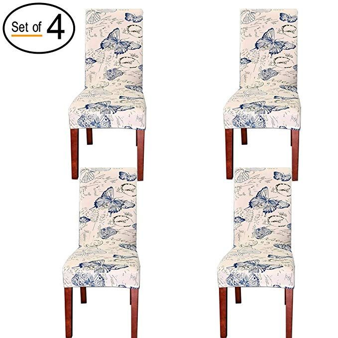 Bluetop 4pcs Dining Room Chair Slipcovers Spandex Fabric Stretch