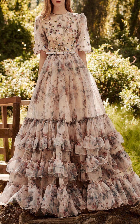 Ruffled Printed Organza Gown by Costarellos SS17 - #Costarellos