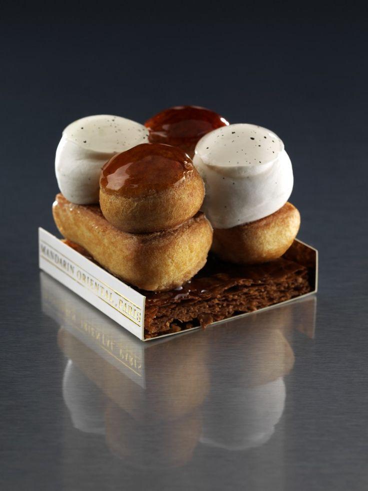 Saint-Honoré - Pierre Mathieu - Le Mandarin Oriental, Paris - Pâte feuilletée, pâte à choux, mousseline vanille (crème pâtissière et beurre), caramel et crème légère vanille - 14€ sur place, 8 € à emporter.