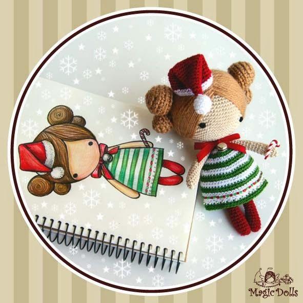 Crochet Dolls Hat Pattern : ma+petite+Xmas+poupee.jpg 591 591 pixels .joli doudous ...