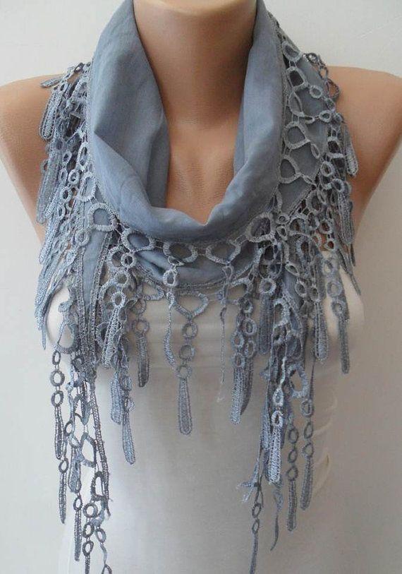 Grey summer scarf with trim edge via WaneLo