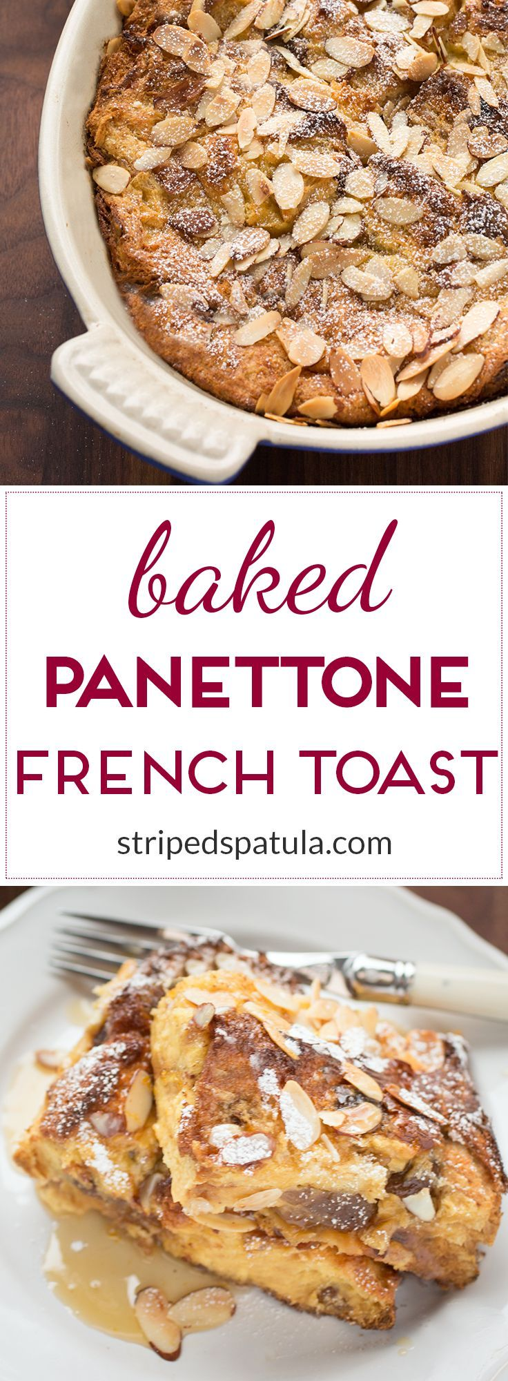 Panettone French Toast is an easy and delicious breakfast to celebrate the holiday season. Prep the night before and bake on Christmas morning!