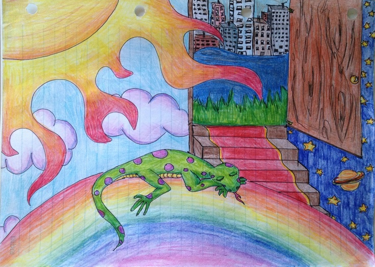 DAY 38! SURREAL drawing of LIZARD on a RAINBOW, Colored Pencil on Notebook Paper