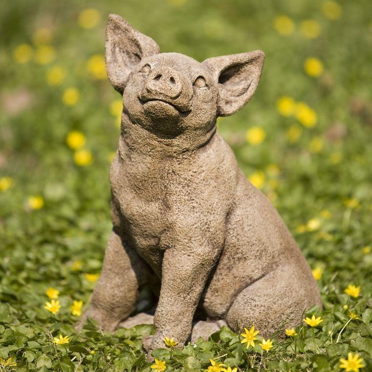 Campania International Perky Pig Cast Stone Garden Statue
