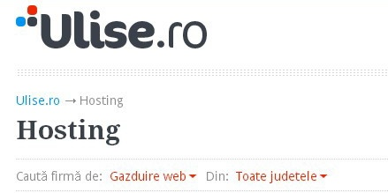 http://www.ulise.ro/hosting Principalele companii ce ofera solutii de gazduire web in online-ul romanesc, precum si servicii de hosting VPS, colocare servere, inregistrare domenii.
