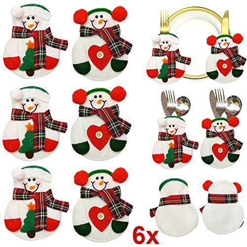 Hrph 6pcs Porte-Couverts Bonhomme de Neige Noël Titulaire d'Couverts Poche Coutellerie Sac de Vaisselle Décoration de Table Noël: Taille:…