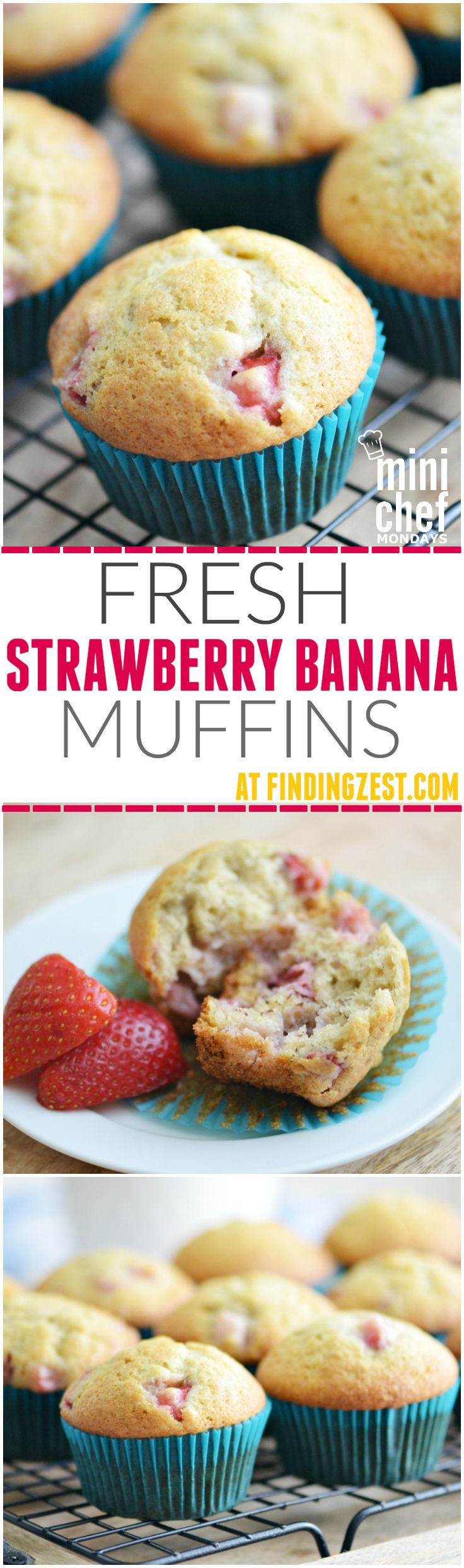 Give this Fresh Strawberry Banana Muffin recipe a try for your next brunch or breakfast. So flavorful and easy for kids to make!