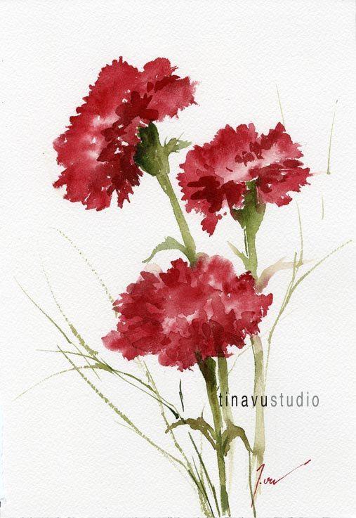 January birthday flowers. SALE 50% OFF price. Red Carnation. Original watercolor…